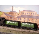 HORNBY Rake of TWO  7 Plank Long Base Open  BERTHLWYD Wagons with Real Coal Load Added