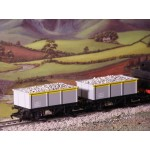 HORNBY Rake of TWO Iron Sided Wagons with REAL STONE / GRAVEL / BALLAST LOAD ADDED
