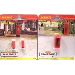 HORNBY Telephone Box and 2 x Pillar Boxes (Letter Boxes)  R8579 & R8580